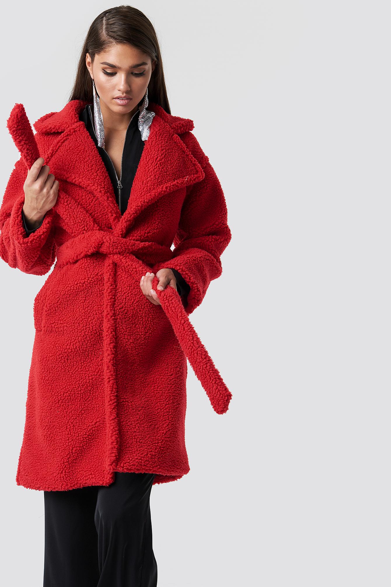 hannalicious x na-kd -  Midi Teddy Coat - Red