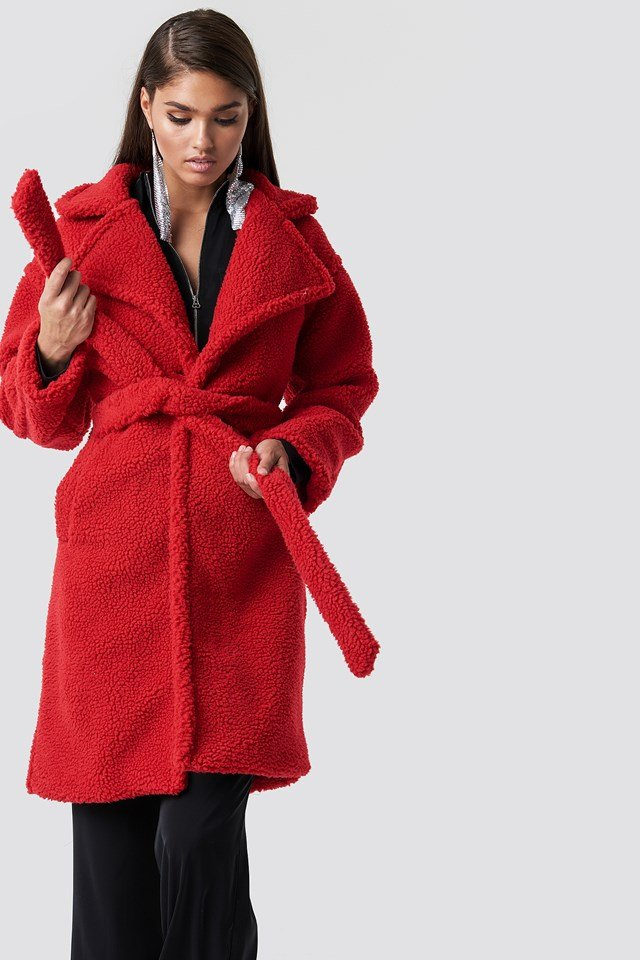 Midi Teddy Coat Red