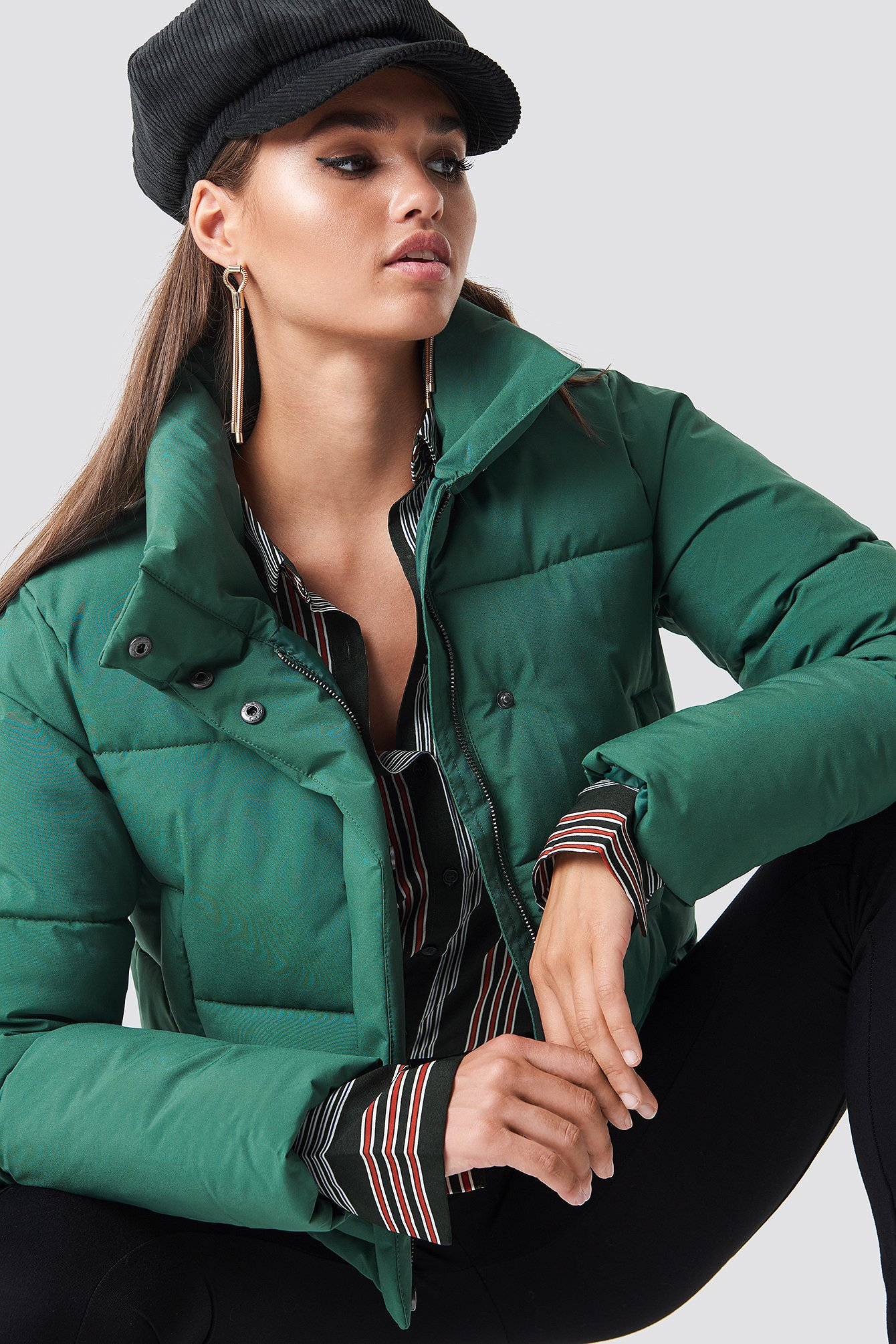 hannalicious x na-kd -  Short Puffy Jacket - Green