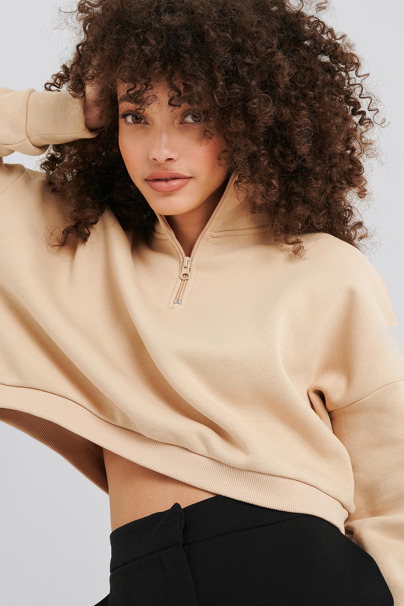 hanna-martine x na-kd -  Zipper Jersey Sweater - Beige
