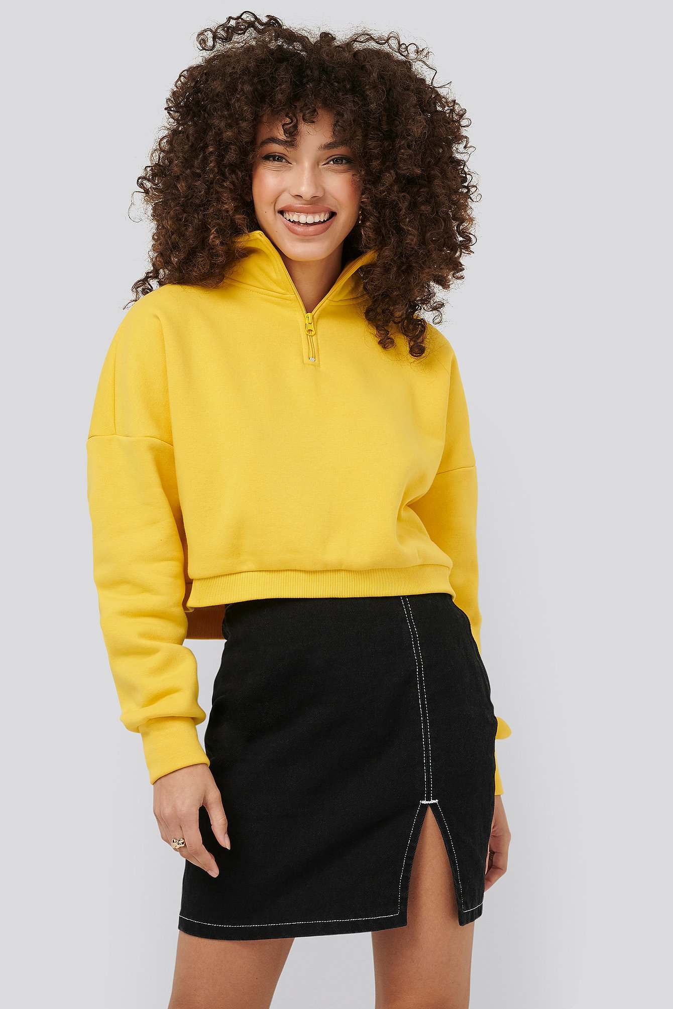 Yellow Zipper Jersey Sweater