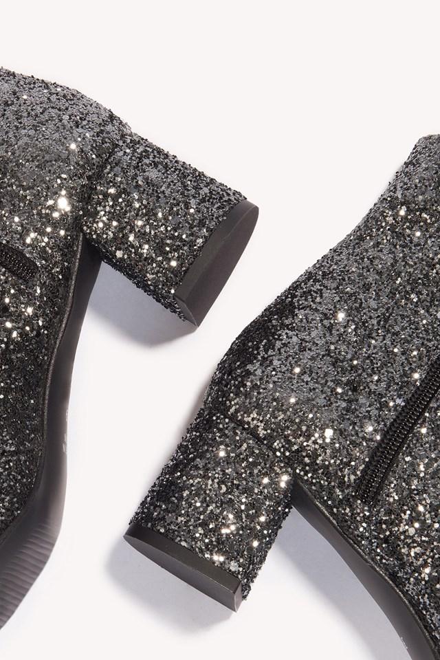 Erin Glitter Boots Silver/Black