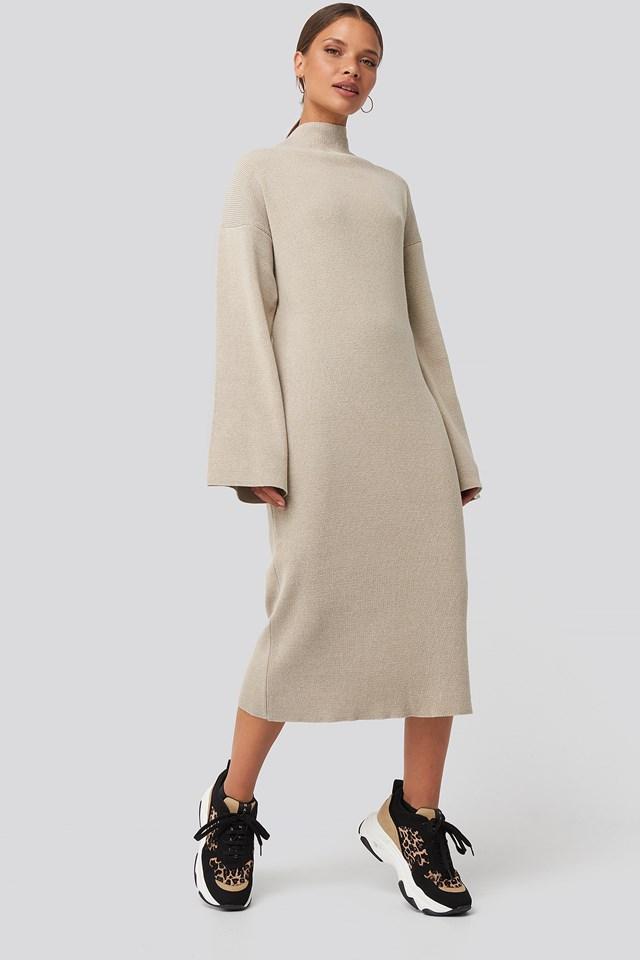High Neck Wide Sleeve Knitted Dress Beige