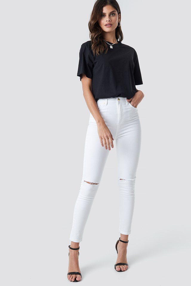 High Waist Knee Rip Super Skinny Jeans NA-KD.COM