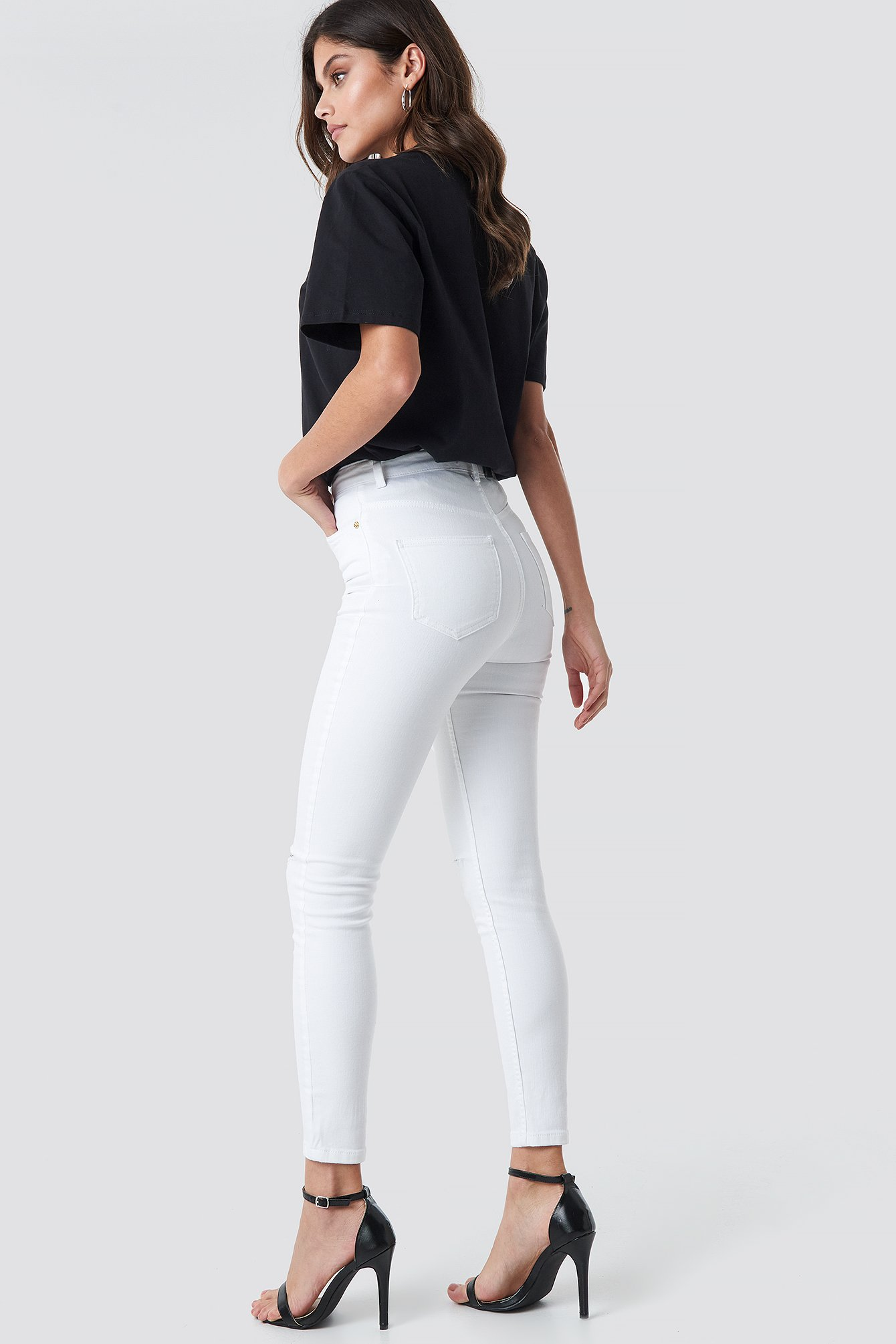 High Waist Knee Rip Super Skinny Jeans NA-KD.COM