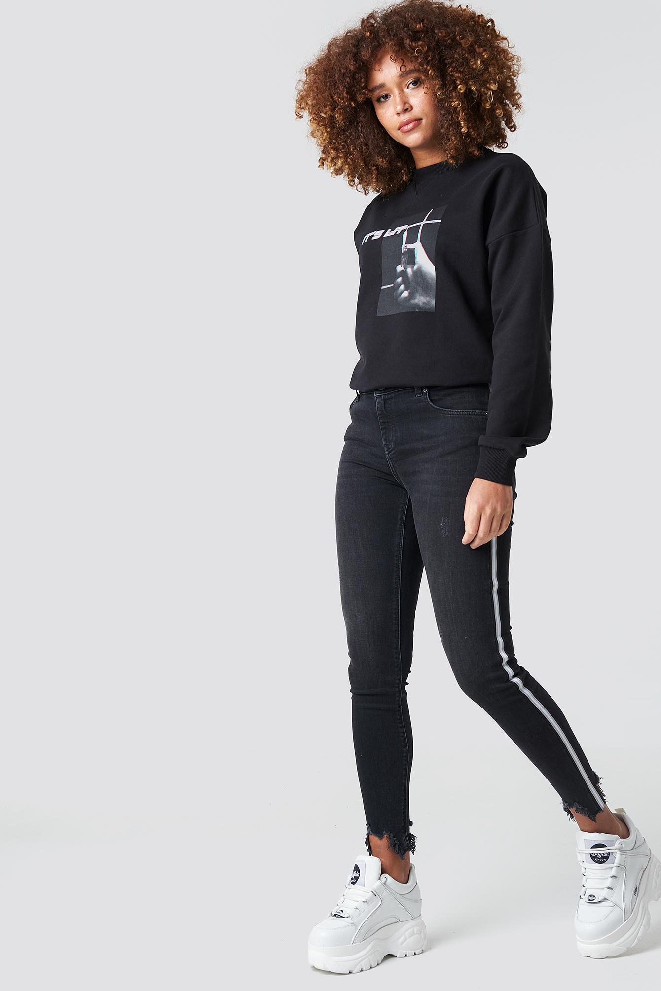 High Waist Skinny Side Details Jeans NA-KD.COM