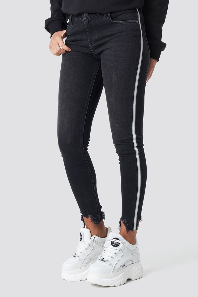 High Waist Skinny Side Details Jeans Black/White