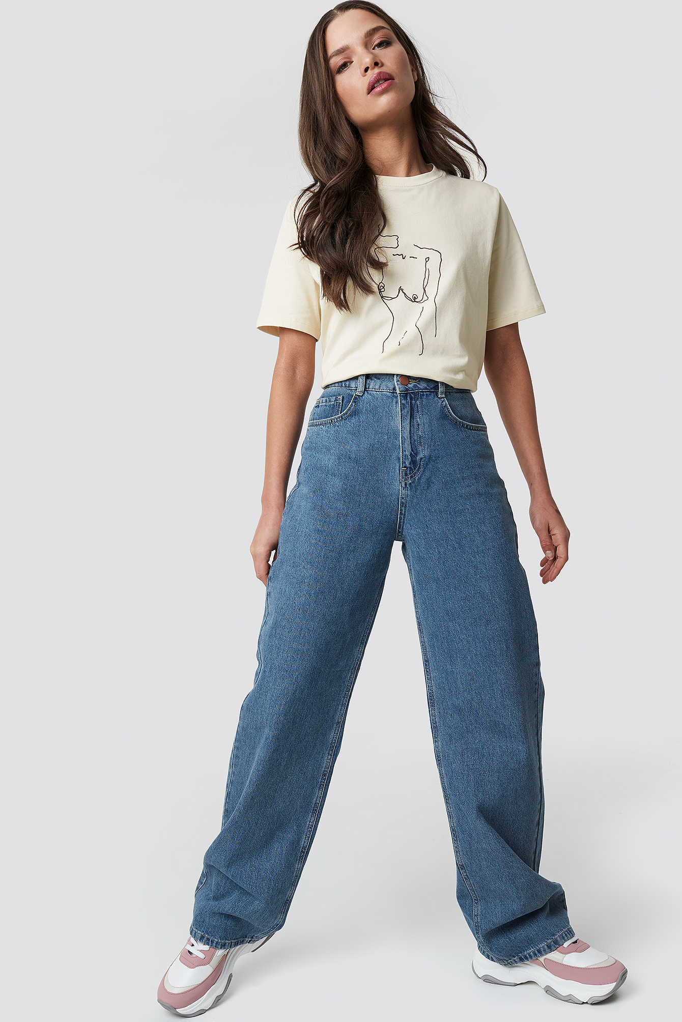 emilie briting x na-kd -  High Waist Flared Jeans - Blue