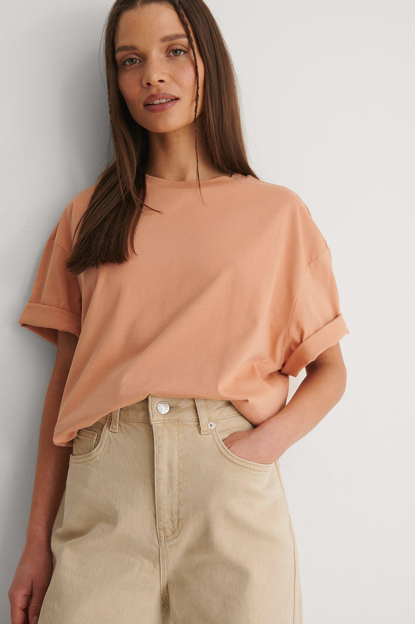 NA-KD Basic Ekologisk Boxig Oversize T-shirt - Orange