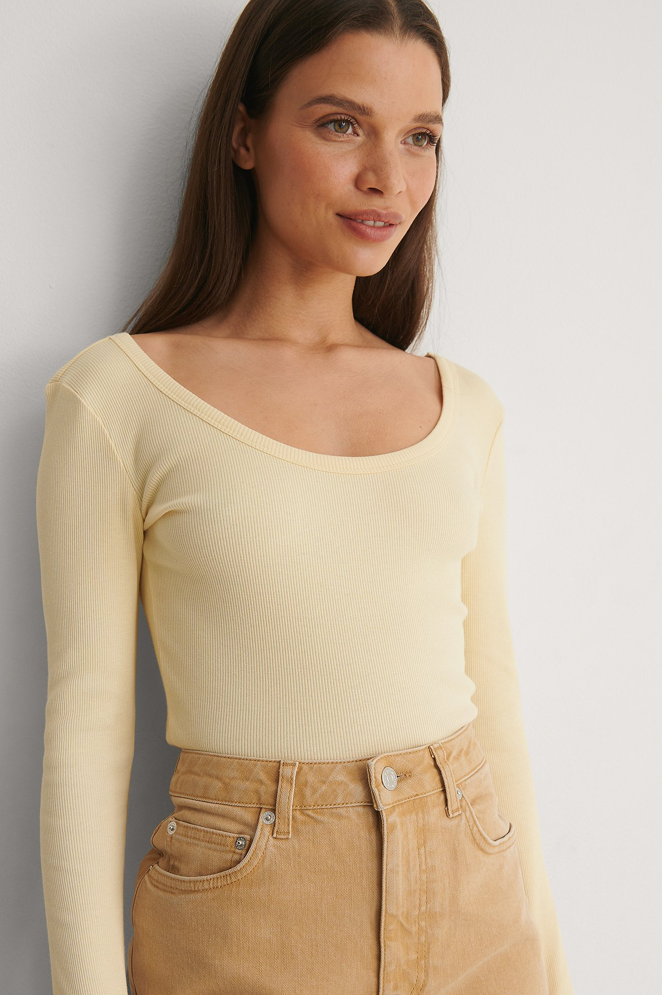 Light Yellow Ribbed Scoop Neck Top