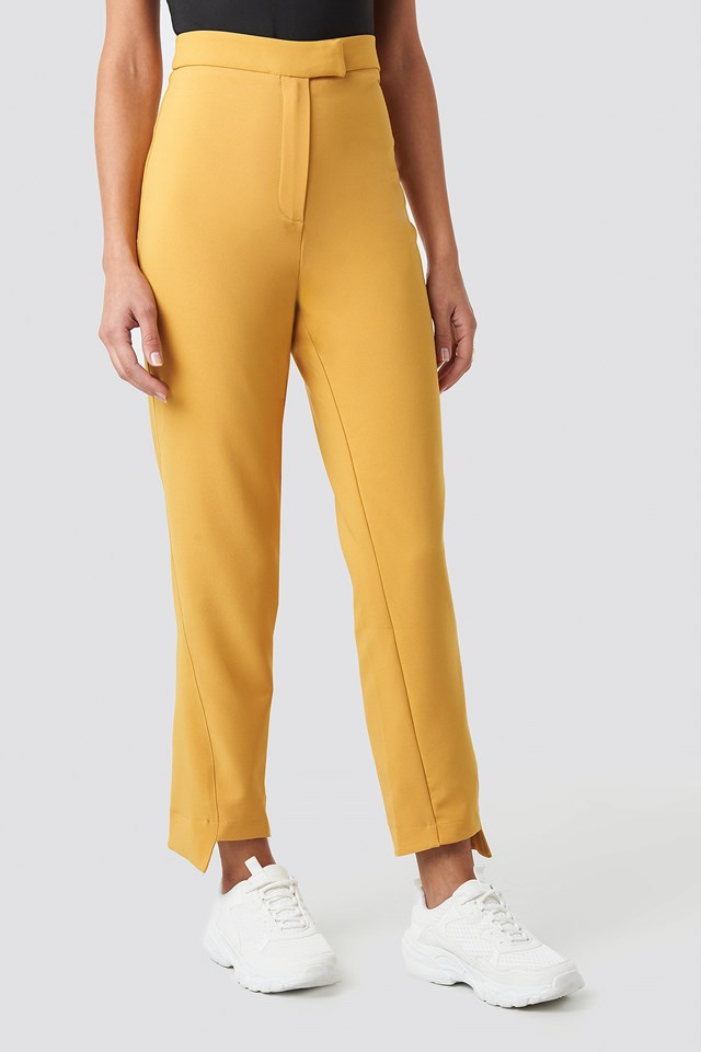 Asymmetrical Hem Suit Pants Mustard