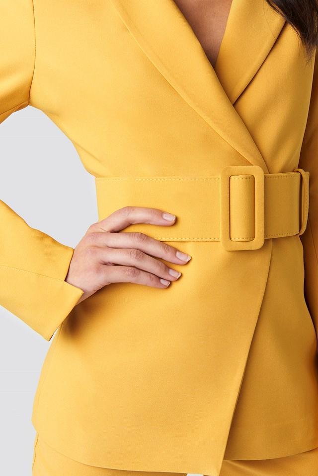 Wide Belted Suit Jacket Mustard