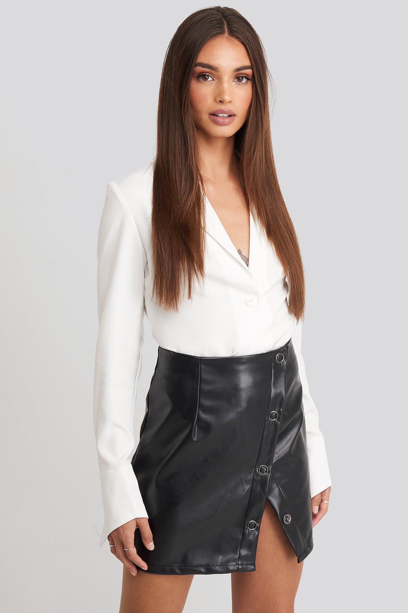 hoss x na-kd -  Buttoned Wrap Skirt - Black