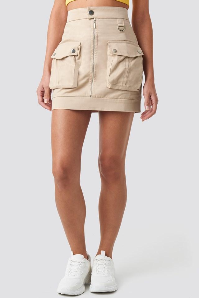 Cargo Mini Skirt Beige