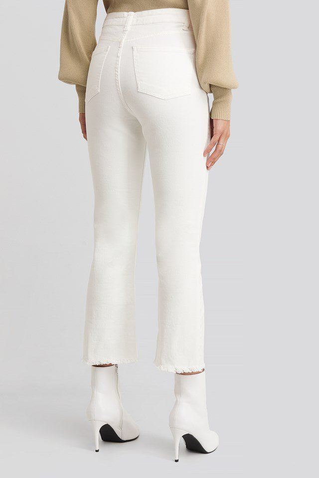 Cropped Flared Jeans Off White