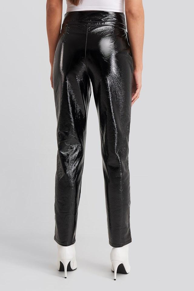 Drawstring Patent Pants Black