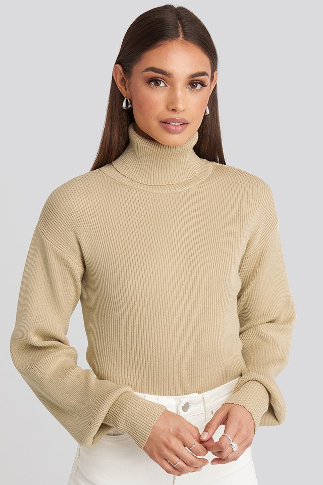 Drop Shoulder Sweater Beige