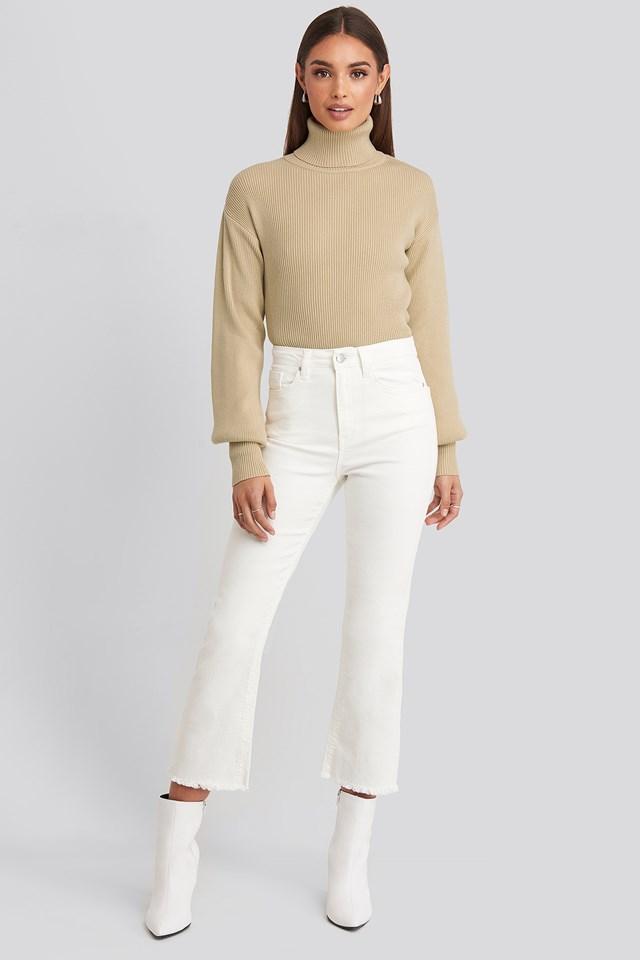 Drop Shoulder Sweater Beige