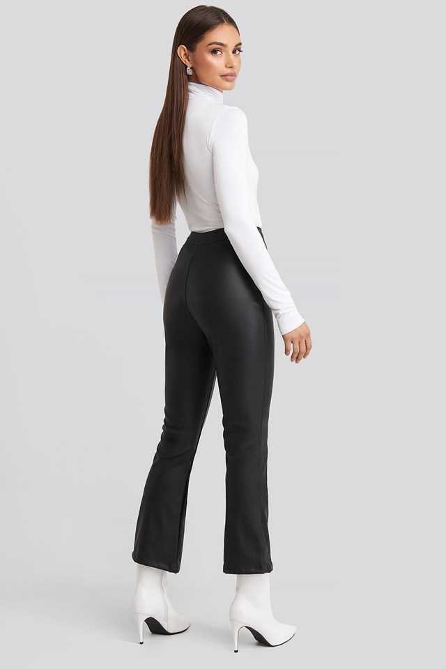 Flared Pu Pants Black