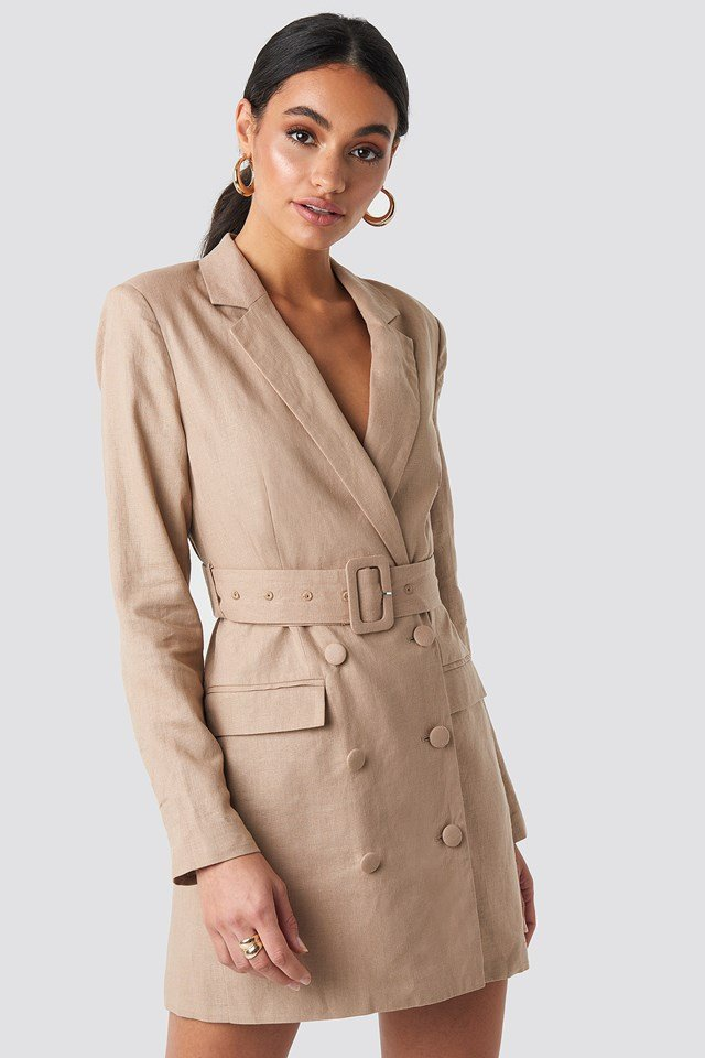 Linen Blazer Dress Beige