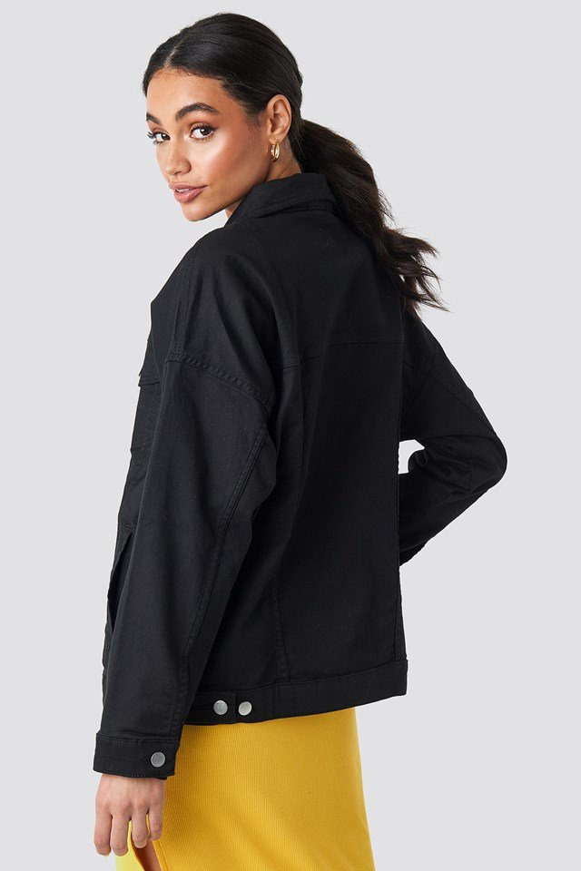 Oversized Denim Jacket Washed Black