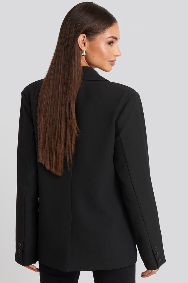 Padded Shoulder Blazer Black