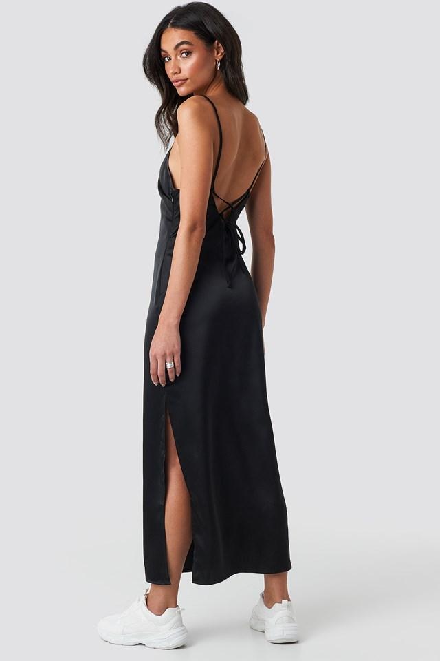 Side Slit Midi Dress Black
