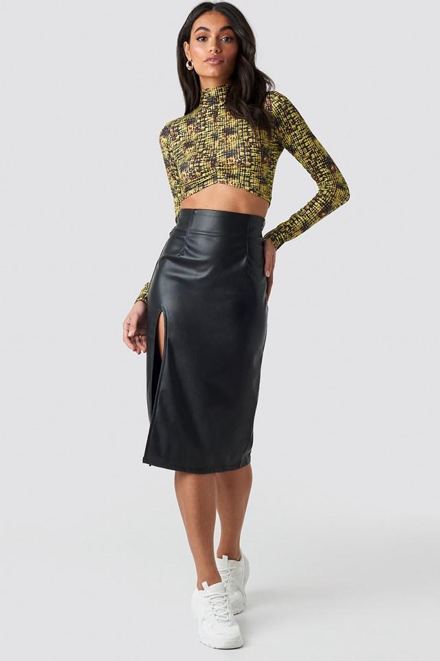 Slit Detail PU Skirt NA-KD.COM