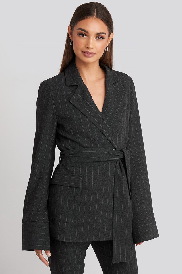 Striped Blazer Dark Grey