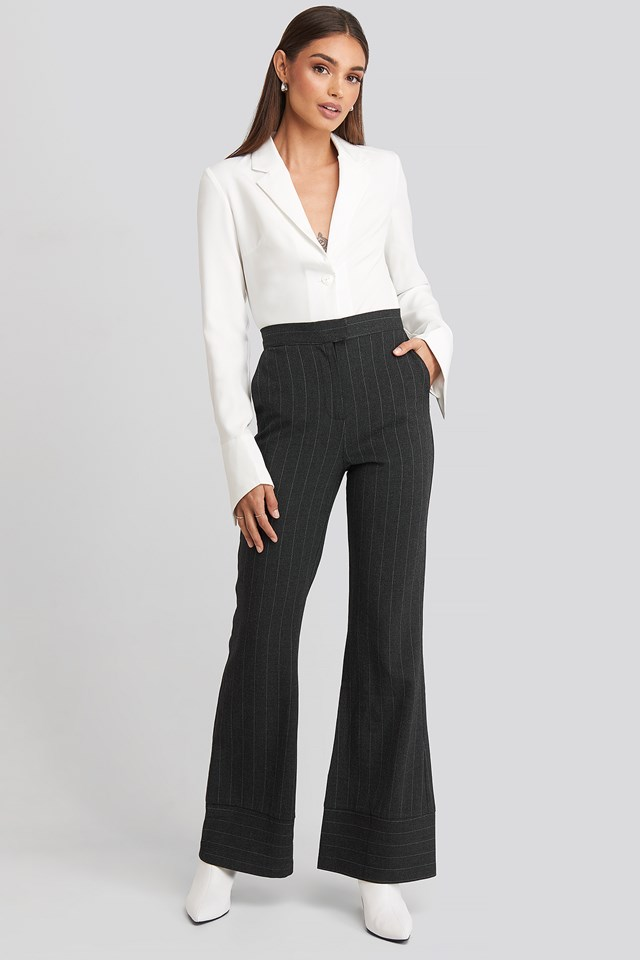 Striped Trousers Dark Grey