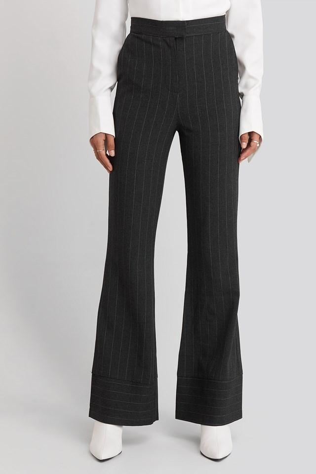 Striped Trousers Dark Grey