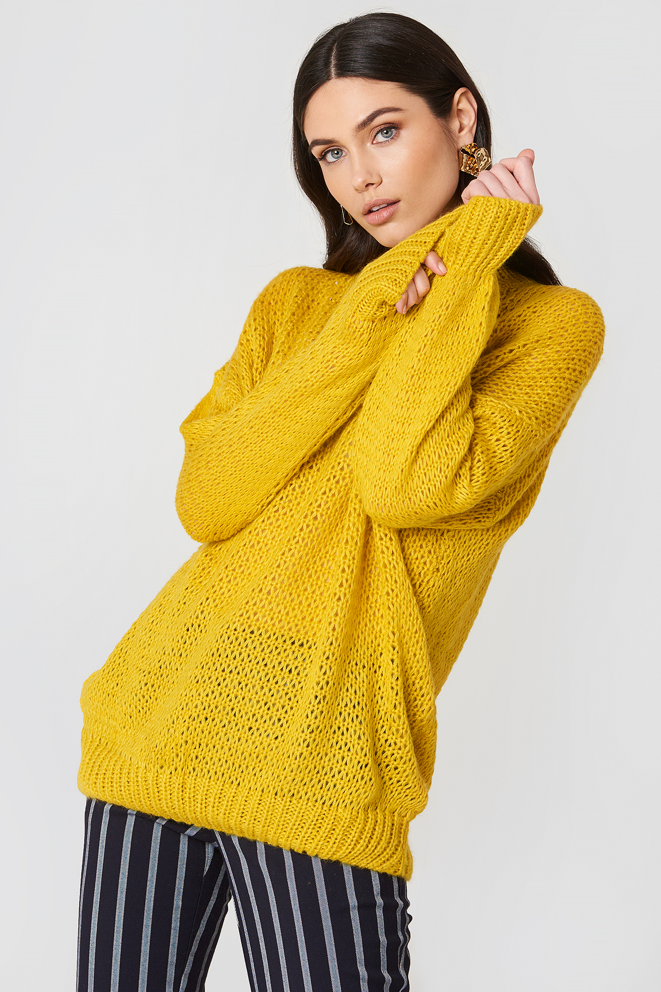 HOT & DELICIOUS KNIT SOLID OVERSIZED SWEATER - YELLOW