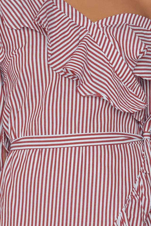One Shoulder Striped Dress Burgundy