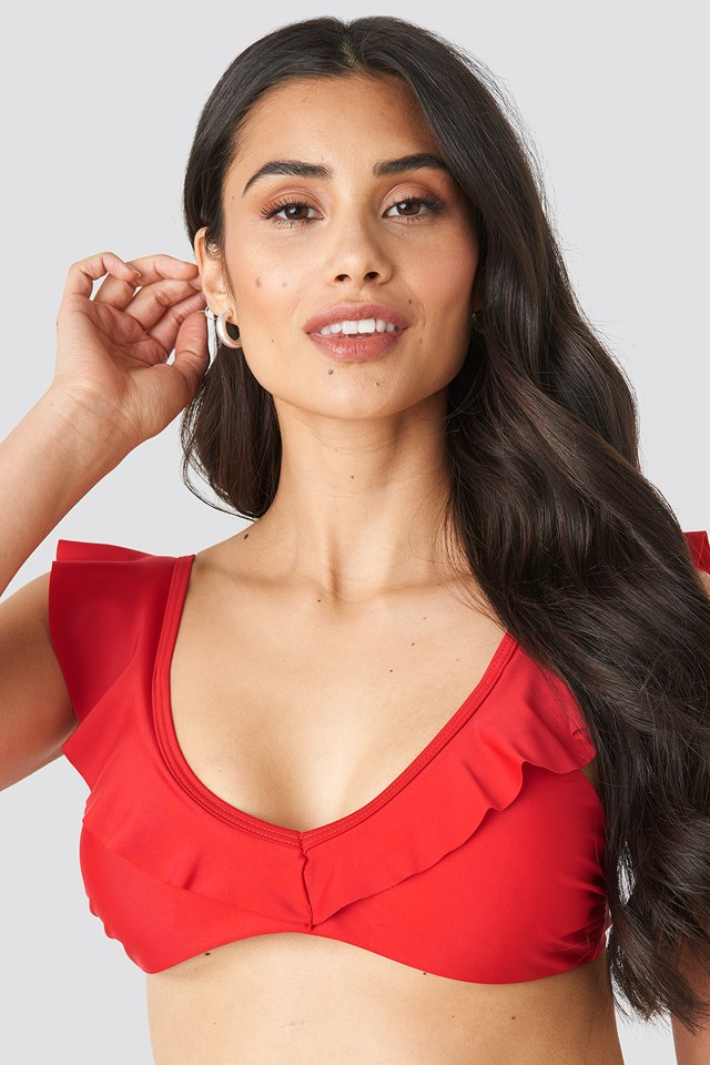 Flounce Triangle Top Red