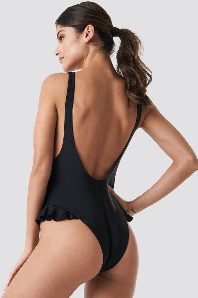 Flounce U-Shape Swimsuit Black
