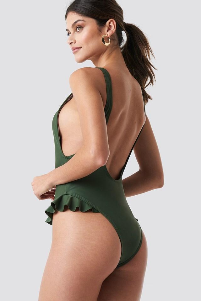 Flounce U-Shape Swimsuit Green