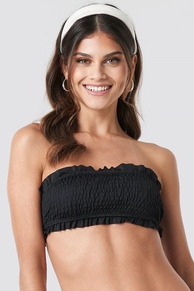 Flounced Wrinkled Bandeau Bikini Black