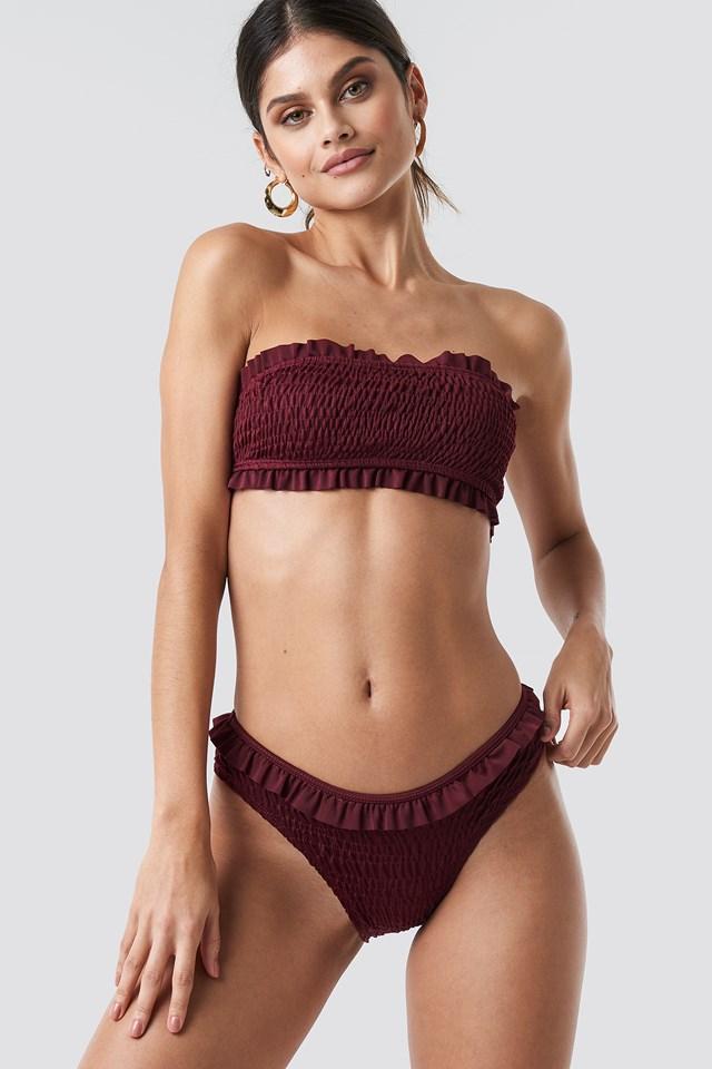 Flounced Wrinkled Bandeau Bikini Red