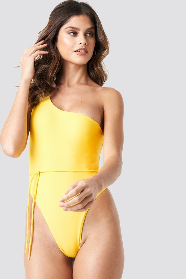 One Shoulder Swimsuit Yellow