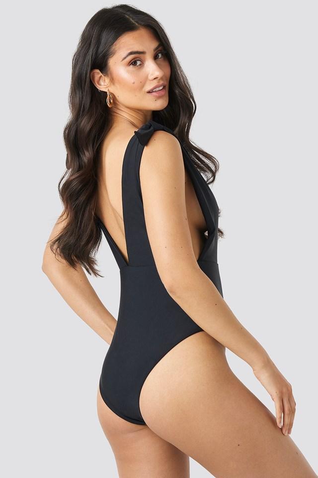 Plunge V-Neck Swimsuit Black