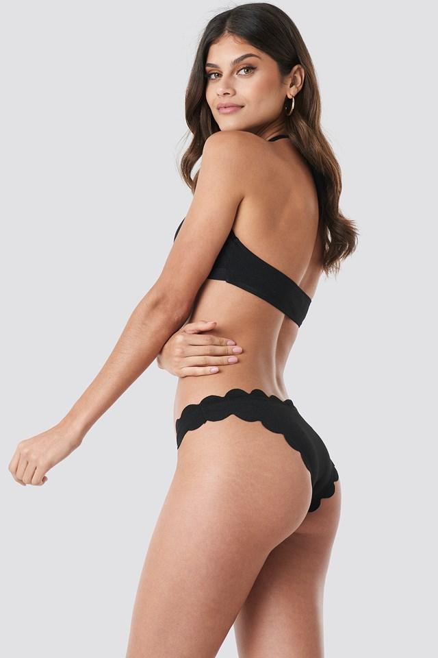 Scalloped Bikini Top Black