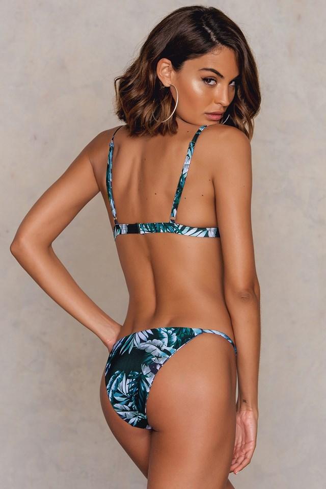 Triangle Bikini Top Leaf Printed