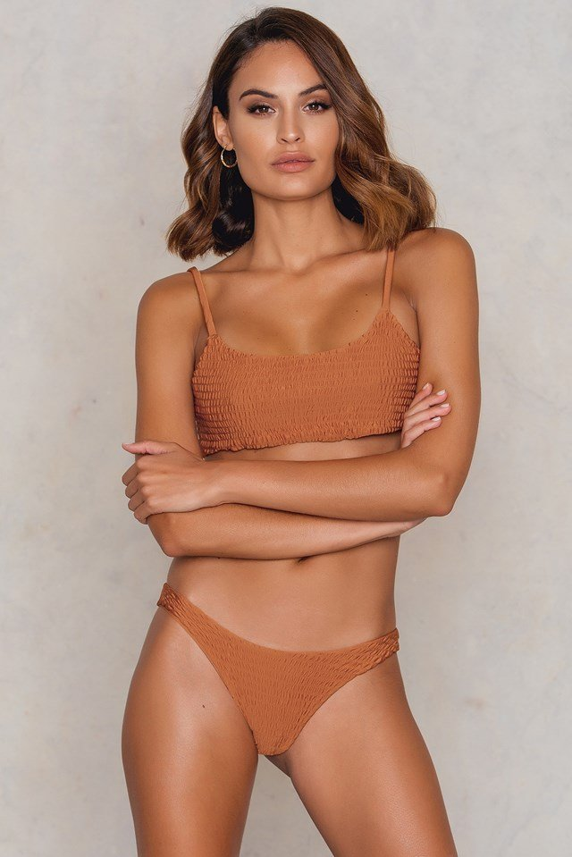 Wrinkled Bikini Top Orange