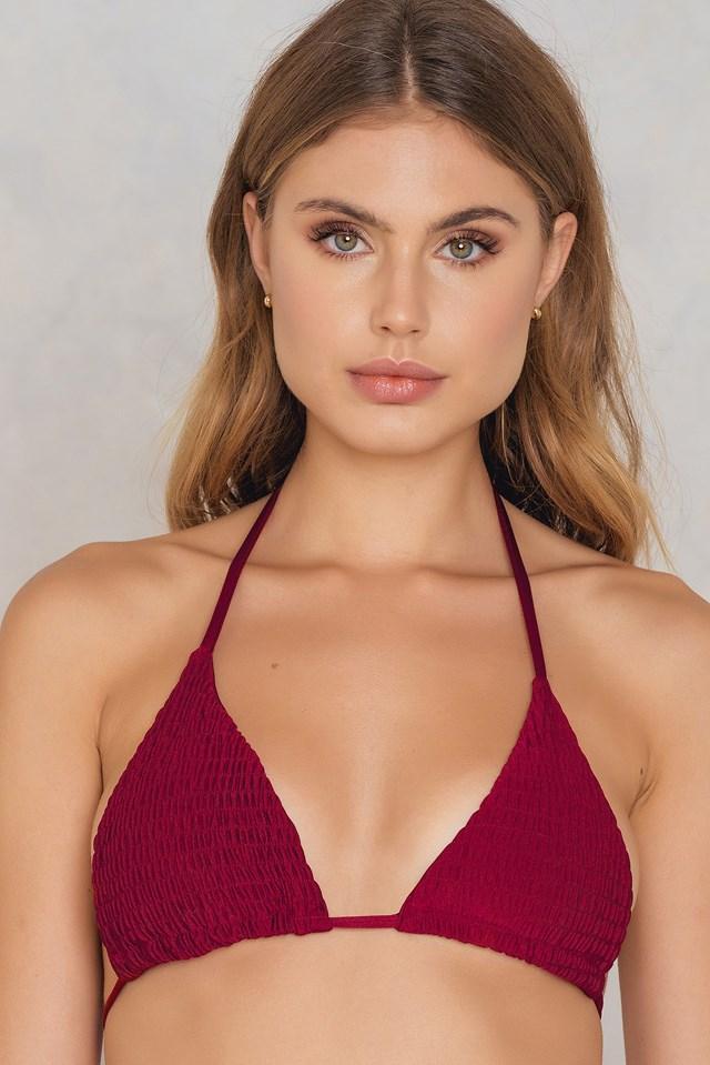 Wrinkled Triangle Bikini Top Red