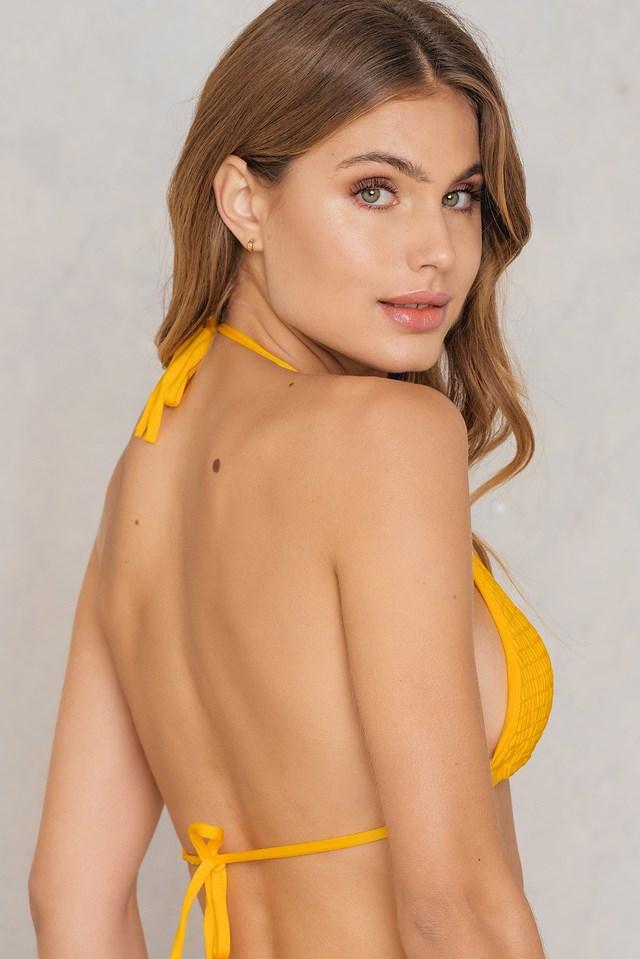 Wrinkled Triangle Bikini Top Yellow
