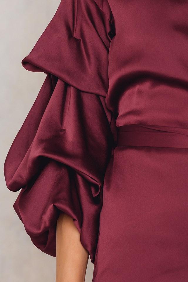 Bubble Sleeve Satin Dress NA-KD.COM