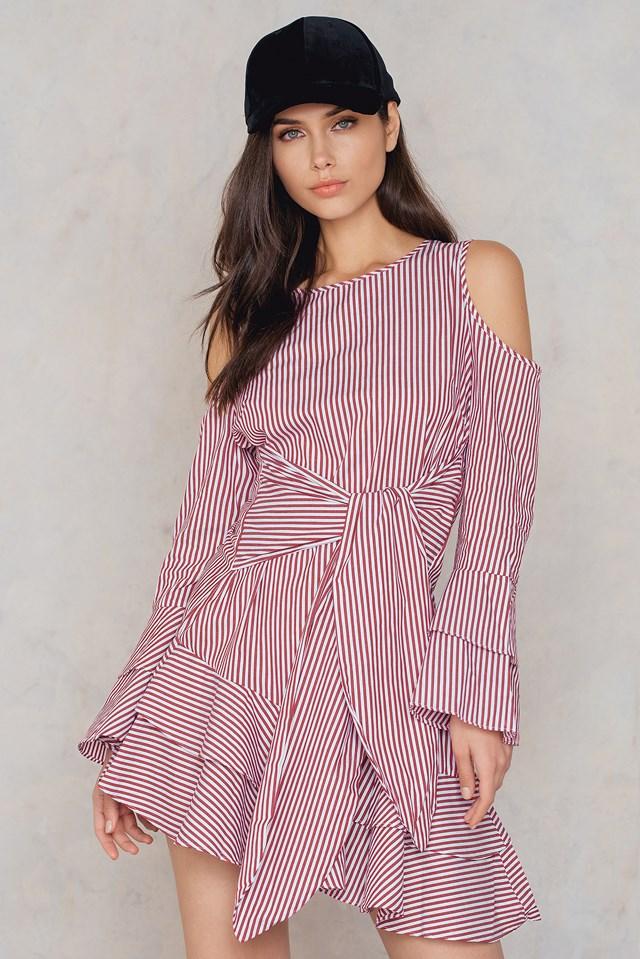 Cold Shoulder Wrap Dress Burgundy