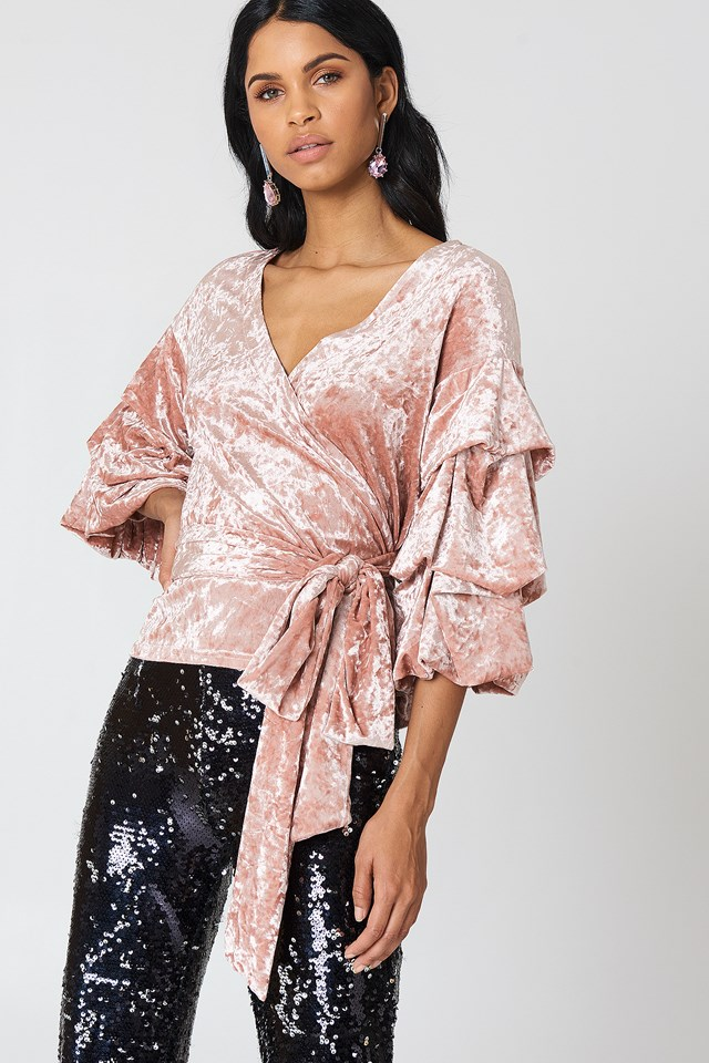 Bubble Sleeve Velvet Top Pink