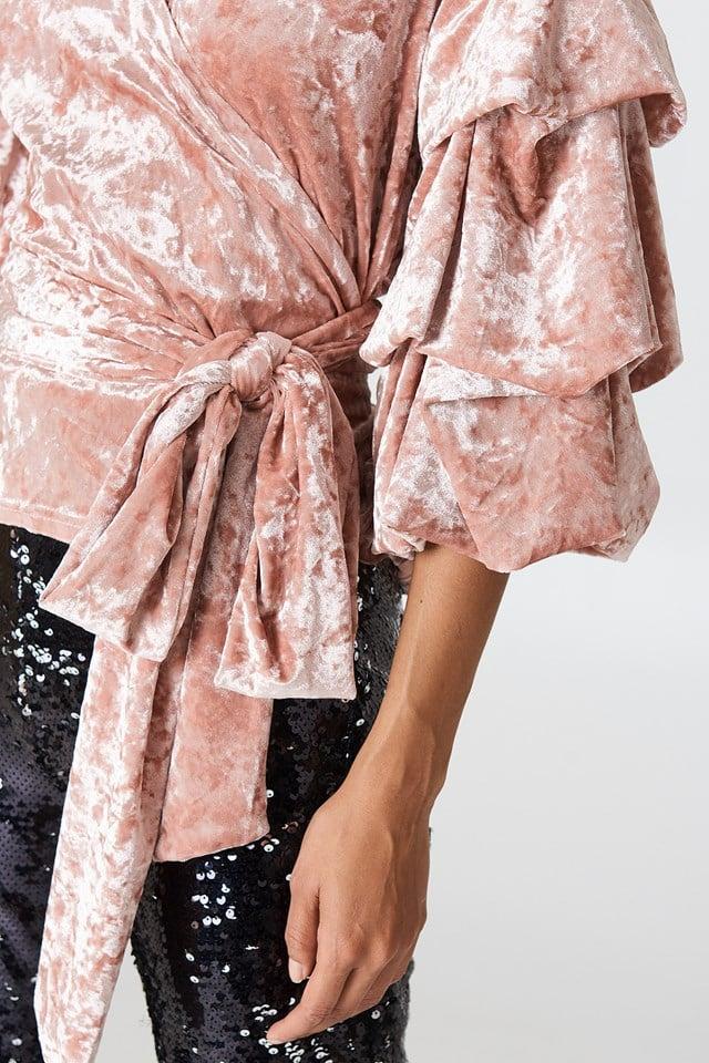 Bubble Sleeve Velvet Top NA-KD.COM