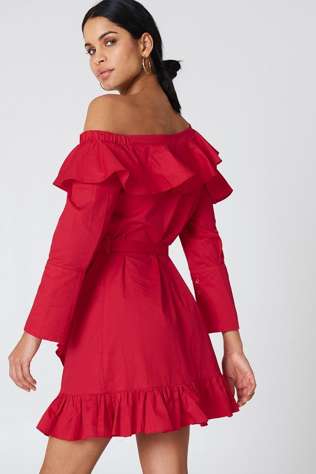 Cold Shoulder Solid Dress Red